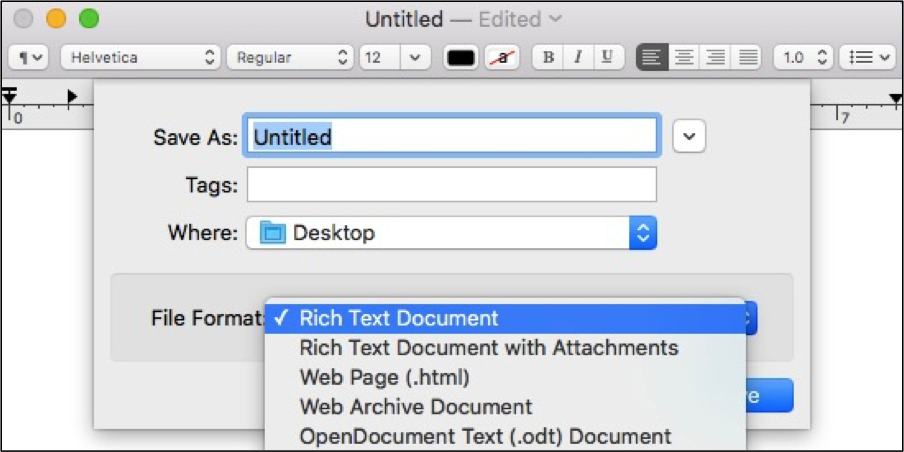 save plain text file on mac